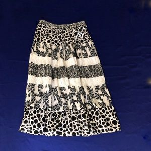 Kim Rogers Lined Skirt, Tiered, Black and White L